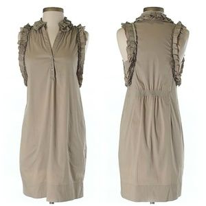 BCBGMaxAzria Khaki Ruffle V-Neck Mini Dress